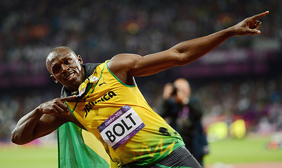 Usain Bolt of Jamaica celebrates