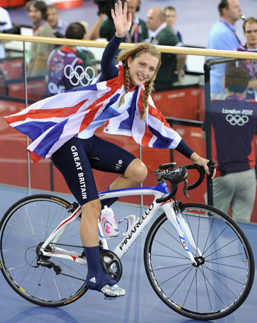 Laura Trott of Great Britain celebrates winning the Gold medal in the Women's Omnium Track Cycling 500m Time Trial