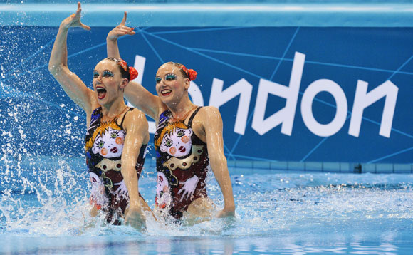 Russia's Natalia Ishchenko and Svetlana Romashina perform in the synchronised swimming duets final