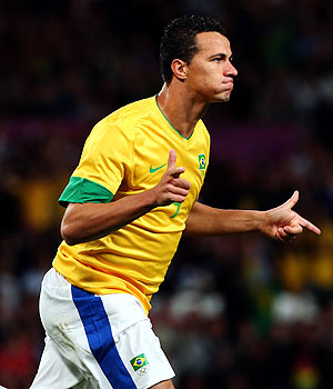 Leandro Damiao of Brazil reacts after scoring against Korea during the men's football semi-final at the London Games on Tuesday