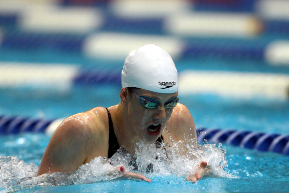 Missy Franklin swims in the women's 200 meter individual medley finals