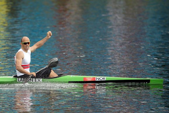 Eirik Veras Larsen of Norway celebrates during the Men's Kayak Single (K1) 1000m Canoe Sprint Finals
