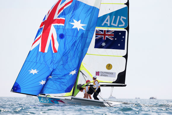 Nathan Outteridge (R) and Iain Jensen of Australia compete on their way to winning gold in the Men's 49er Sailing