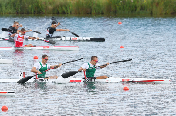Roland Kokeny (L) and Rudolf Dombi of Hungary compete on their way to winning Gold in the Men's Kayak Double (K2) 1000m Canoe Sprint final