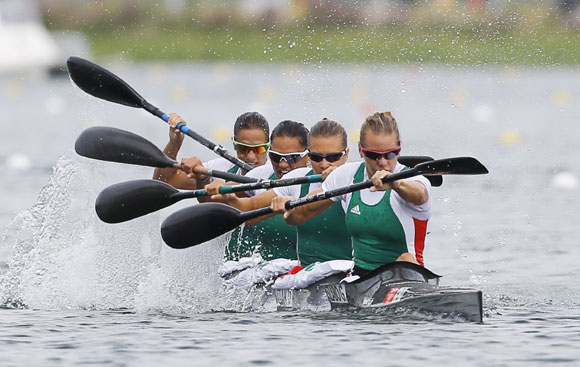 Team Hungary competes to win in the women's kayak four (K4) 500m final