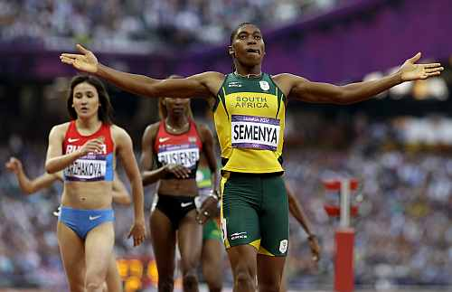 South Africa's Caster Semenya reacts after competing in the women's 800-meter semifinal during the athletics in the Olympic Stadium