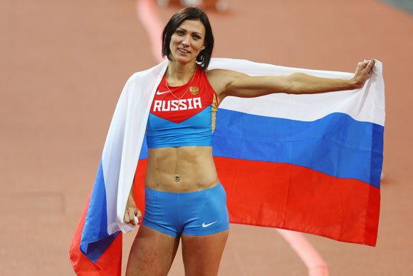 Natalya Antyukh of Russia celebrates winning gold in the Women's 400m Hurdles Final