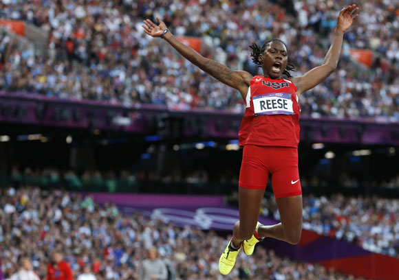 Brittney Reese of the U.S. competes in the women's long jump final