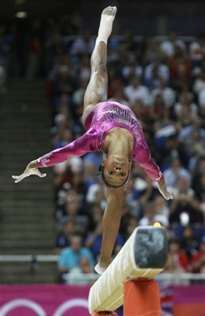 US gymnast Gabrielle Douglas performs on the balance beam