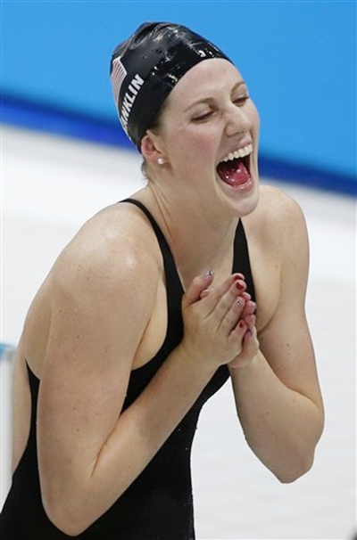 United States' Missy Franklin celebrates