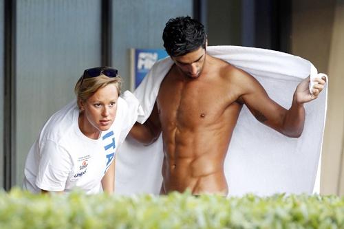 Italian swimmer Federica Pellegrini (left) and her boyfriend Filippo Magnini