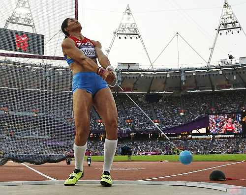 Russia's Tatyana Lysenko competes in the women's hammer throw final during the athletics in the Olympic Stadium
