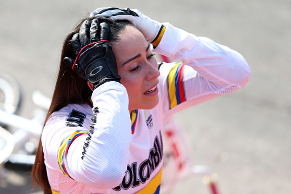 Mariana Pajon of Colombia celebrates winning the Gold medal in the Women's BMX Cycling Final