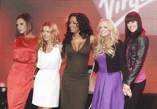 British group Spice Girls (left to right) Victoria Beckham, Geri Halliwell, Mel B, Emma Bunton and Mel C