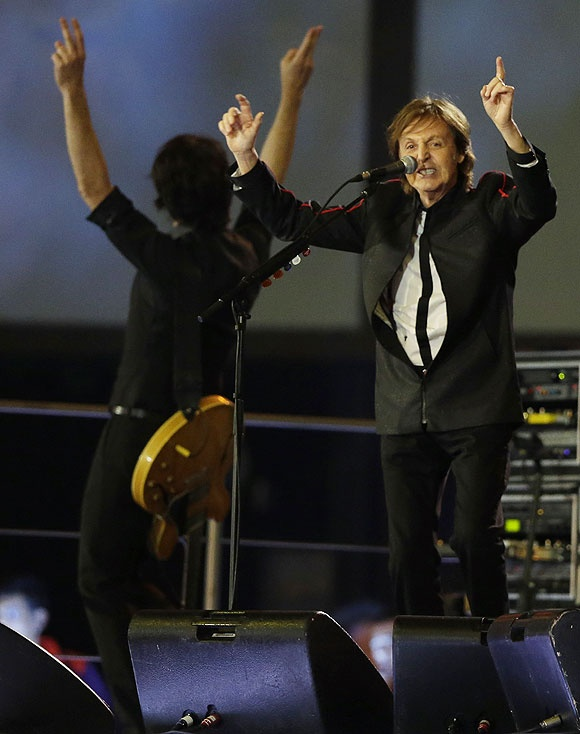 Sir Paul McCartney performs during the Opening Ceremony of the London Olympics