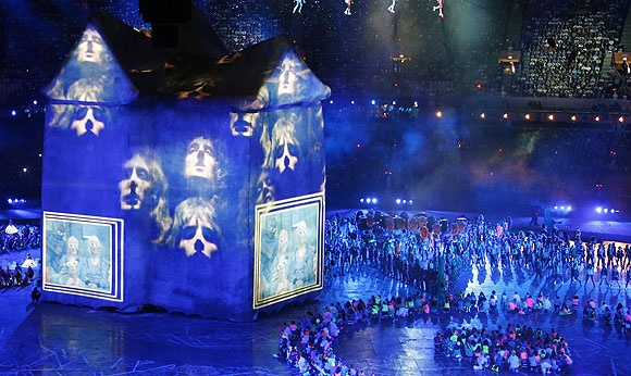 A colourful stage set for a music performance at the opening ceremony of the London Olympic Games at the Olympic Stadium