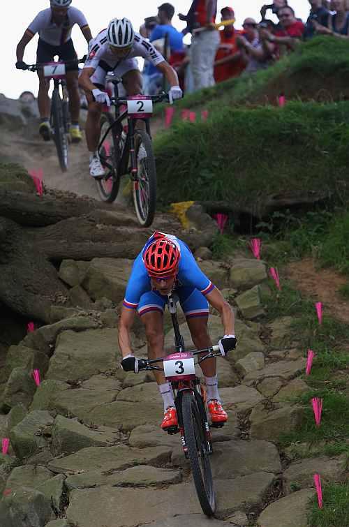 Jaroslav Kulhavy of the Czech Republic competes in the Men's Cross-country Mountain Bike race