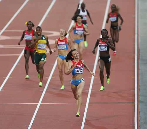 Mariya Savinova of Russia races to the finish line to win gold in the Women's 800m Final