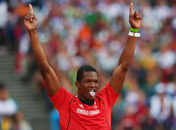 Keshorn Walcott of Trinidad and Tobago celebrates after a throw during the Men's Javelin Throw Final