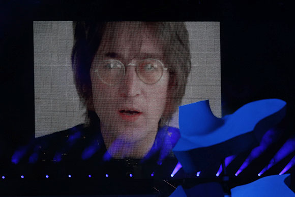 A video of musician John Lennon singing his classic 'Imagine' is seen on the screen during the closing ceremony of the London 2012 Olympic Games