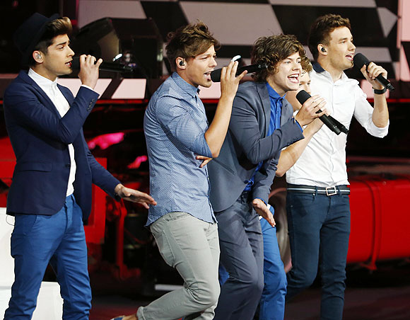 Boy band One Direction performs at the closing ceremony of the London 2012 Olympic Games