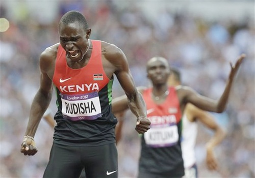Kenya's David Lekuta Rudisha crosses the line to win the men's 800-meter final