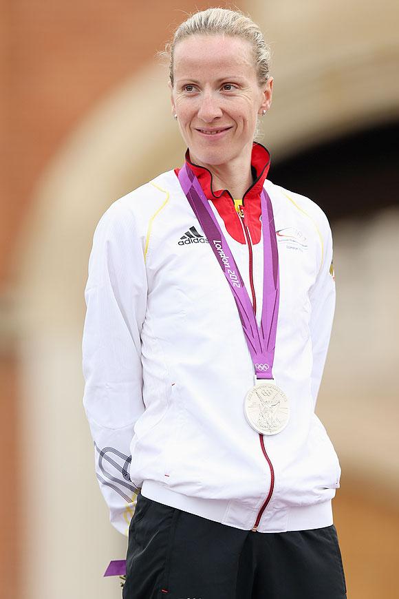 Silver medallist Judith Arndt of Germany