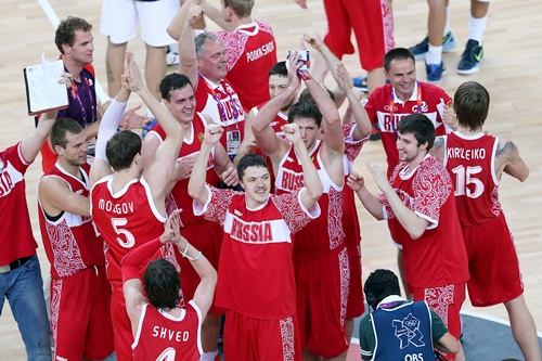 Russian players and coaching staff celebrate