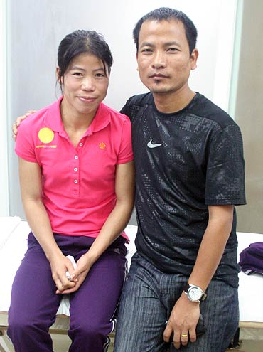 Mary Kom with husband Onler