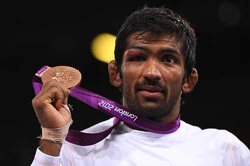 Bronze medalist Yogeshwar Dutt of India in the Men's Freestyle 60 kg Wrestling