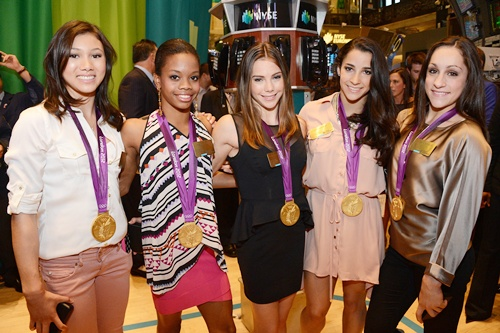 Kyla Ross, Gabby Douglas, McKayla Maroney, Aly Raisman and Jordyn Wieber of the US Women's Gymnastics Olympic Gold Medal Team