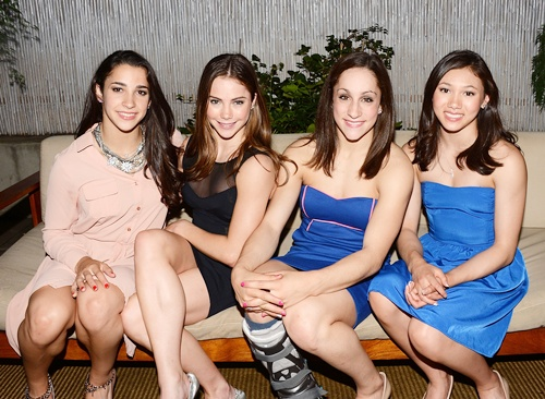 Members of the Olympic gold medal-winning U.S. Women's Gymnastics team Aly Raisman, McKayla Maroney, Jordyn Wieber and Kyla Ross