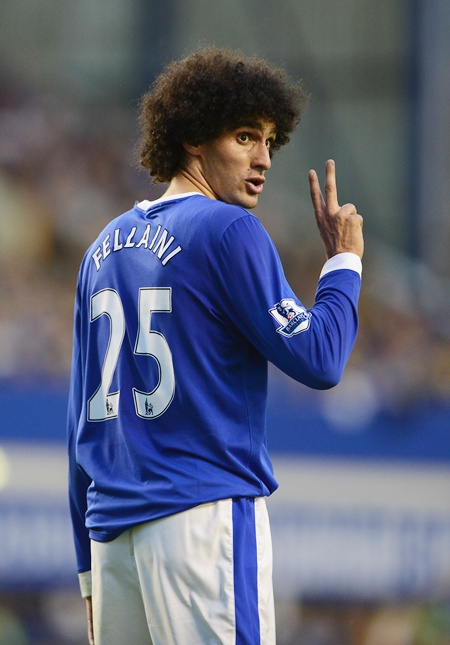 Marouane Fellaini of Everton gesture