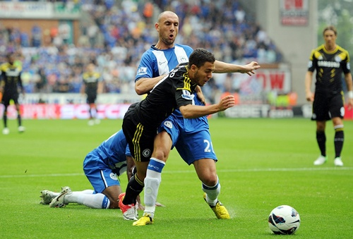 Eden Hazard of Chelsea is fouled by Ivan Ramis of Wigan Athletic