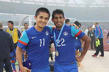 Sunil Chhetri with Syed Nabi
