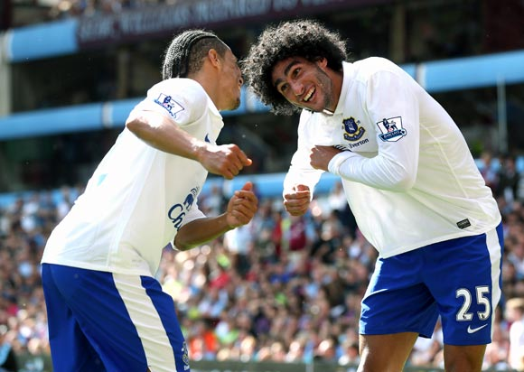 Marouane Fellaini (right) celebrates his goal with team-mate Steven Pienaar