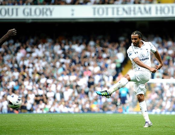 Benoit Assou-Ekotto of Tottenham Hotspur scores the opening goal
