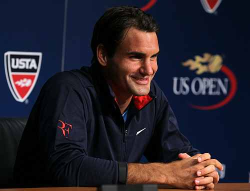 Roger Federer of Switzerland is interviewed during a press conference held on Arthur Ashe Kids' Day