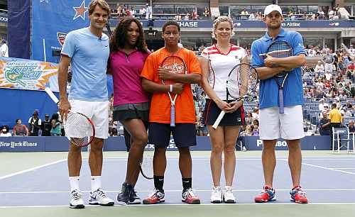 Roger Federer, Serena Williams, Taylor McKnight, Kim Clijsters and Andy Roddick attend 2012 Arthur Ashe Kids' day