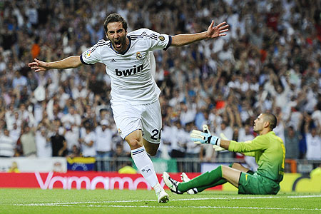 Gonzalo Higuain of Real Madrid celebrates after scoring the opening goal against Barcelona during the Super Cup second leg match on Wednesday