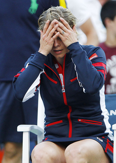 Kim Clijsters reacts after losing her match against  Laura Robson of Great Britain on Wednesday