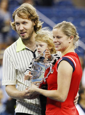 Kim Clijsters with husband Bryan and daughter Jada after her 2009 US Open win