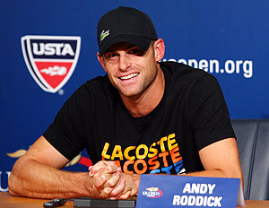 Andy Roddick of the United States speaks to the media during a press conference announcing his retirement