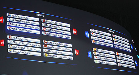 A view of the screen during the Champions League draw ceremony at Monaco's Grimaldi Forum in Monte Carlo on Thursday