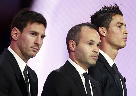 The three nominees for the Best Player UEFA 2012 Awards (L-R) Lionel Messi, Andres Iniesta and Cristiano Ronaldo attend the Champions League draw ceremony on Thursday