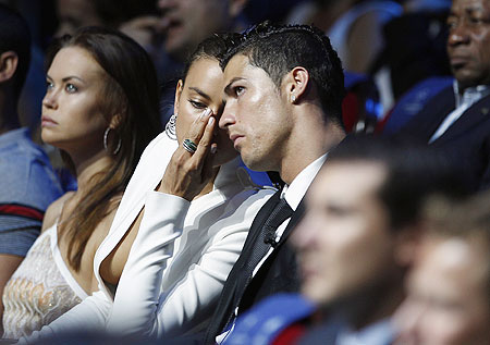 Portugal's Cristiano Ronaldo and his girlfriend model Irina Shayk attend the Champions League draw ceremony on Thusday