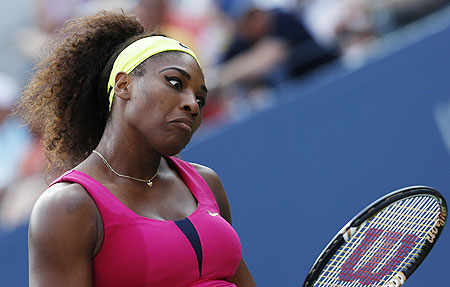 Serena Williams reacts after missing a point against Maria Jose Martinez Sanchez on Thursday