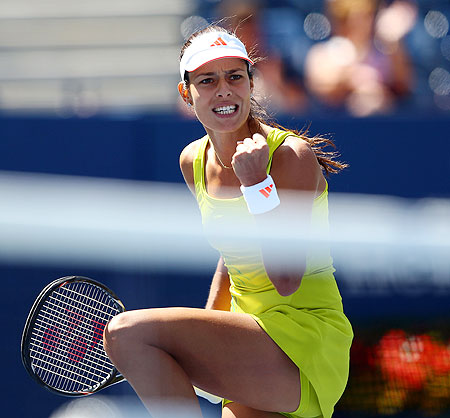 Ana Ivanovic celebrates after a point against Sofia Arvidsson on Thursday