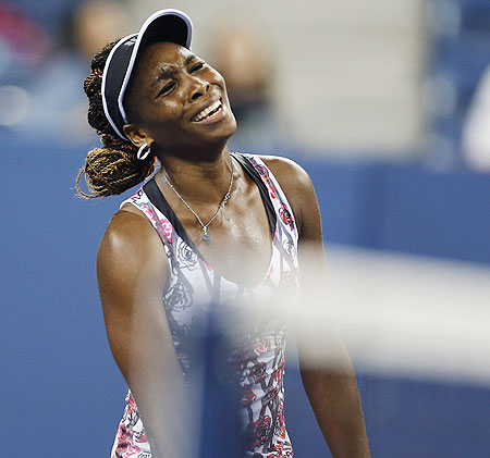 Venus Williams reacts after her loss to Angelique Kerber on Thursday