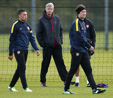 Arsene Wenger at a training session on Monday